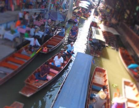 母との水上マーケット!Floating market in Thailand