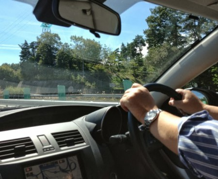 父とドライブ Driving with my dad to Grandma's place