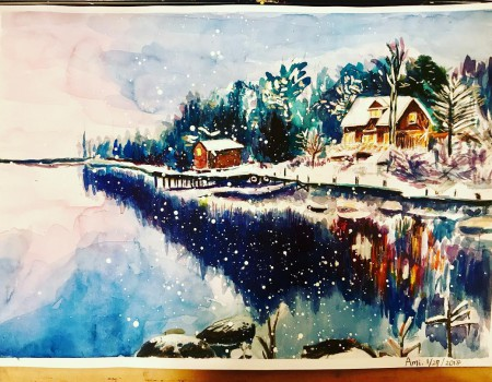 Watercolor : Snow scenery 雪国を描いたよ