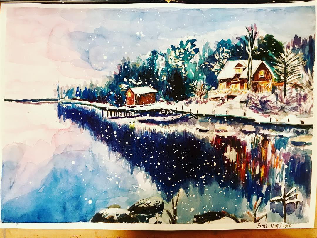 雪景色描くのが好きで、この冬は雪のシーンをたくさん描いてます。☃️特に最後の雪を振らせるところが好き。筆につけた白を、筆から飛ばしてるよ! Love painting snow scenery. Stay warm, friends! #水彩 #watercolor #europe #winter #winterhouse #warmcolors #coldworld #coldweather #アトリエ #アトリエ絵楽 #アート #arttherapy #art #色つけるの好き #かたどるのは苦手 #こんな家に行きたい #でも南国🏝もっと行きたい #いざ南国